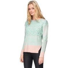 Wish Meadow Jumper (47 CAD) ❤ liked on Polyvore featuring tops, sweaters, green top, cableknit sweater, cable sweater, green knit sweater and green sweater