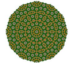 Mandala from the fourth simple nonperiodic tiling using pattern blocks, inflation level 2. (Original)