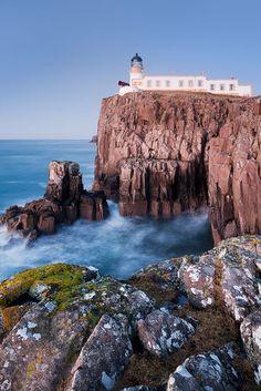 Neist Point Lighthouse at Neist Point on the Isle of Skye, Scotland, UK
