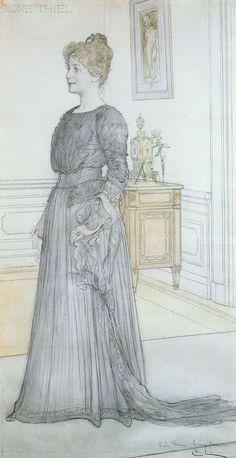 Portrait of Signe Maria Thiel (Peters) - Carl Larsson Carl Larsson, Gouache, Victorian Life, Black Dahlia, Andrew Wyeth, Large Painting, Museum Of Fine Arts, Art Nouveau, National Museum