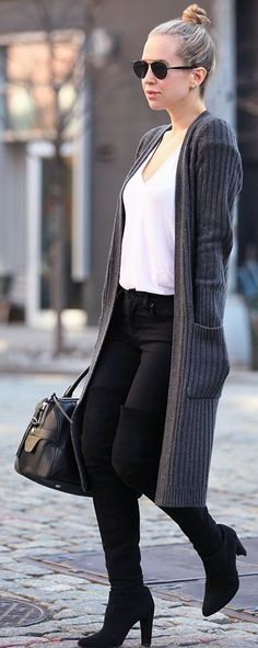Gray Long Cardigan Fall Street Style Inspo                                                                             Source