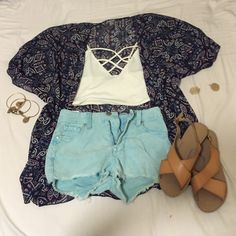 Charlotte Russe Sheer Printed Kimono Barely used. Perfect condition! Charlotte Russe Sweaters Cardigans