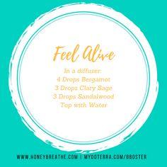 Feel Alive for Diffuser by HoneyBreathe.com | Diffuser Blend | Doterra | Essential Oils | Bergamot | Clary Sage | Sandalwood | Energy