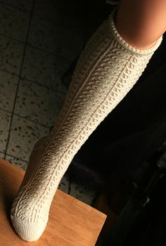 A knee-high, Bavarian-style, toe-up stocking, featuring lots and lots of twisted stitches, combined with classic, pretty laceKit, including 2 skeins and pattern, available mid-August. Working on sock kit (shorter version / 1 skein)