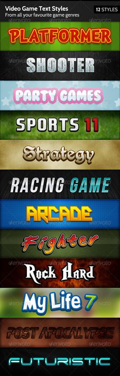 Video Game Text Styles - Text Effects Styles