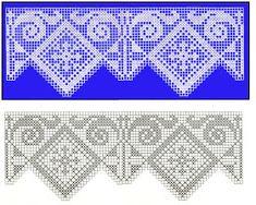 Ravelry: Filetstueck's Handkerchief / hanky in filet-crochet with scalloped edge Filet Crochet Charts, Crochet Borders, Crochet Cross, Irish Crochet, Crochet Patterns, Religious Cross Stitch Patterns, Cross Patterns, Crochet Slipper Pattern, Crochet Slippers