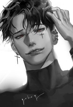 who's the artist? Dark Anime Guys, M Anime, Cool Anime Guys, Handsome Anime Guys, Hot Anime Boy, Male Face Drawing, Long Hair Drawing, Guy Drawing, Drawing Faces