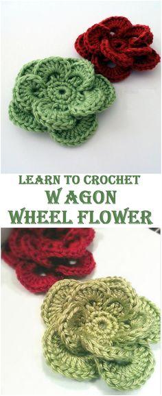 Crochet Wagon Wheel Flower