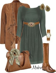 """Green silk dress"" by mrsbro on Polyvore"
