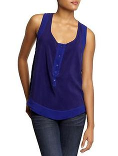 Seamed Henley Tank by Monrow