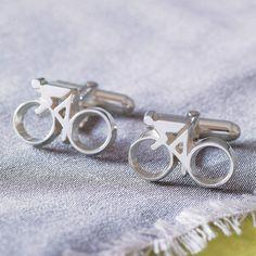 silver cycling cufflinks by english cufflinks | notonthehighstreet.com
