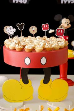 "Mickey Mouse Cupcake Stand - LOVE this! But, I don't want a ""Mickey Pants Party""… Baby Mickey, Theme Mickey, Fiesta Mickey Mouse, Mickey Mouse Baby Shower, Mickey Mouse Clubhouse Party, Mickey Mouse Clubhouse Birthday, Mickey Mouse Cake, Mickey Mouse Parties, Mickey Party"