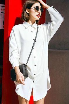 Chic Shirt Collar Long Sleeve Button Design Furcal Corduroy Shirt For Women