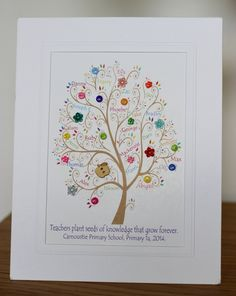 """Mini button tree with all the pupils names within and the quote """"Teachers plant seeds of knowledge that grow forever""""  School and class details can be added at the bottom. Perfect teacher gift for the classroom! Presented in a white freestanding mount approx 10"""" x 8"""" A unique teacher gift."""