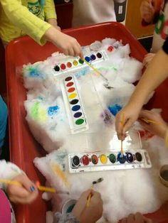 Sensory table art: winter watercolor painting on snow sensory activities, c Snow Activities, Sensory Activities, Toddler Activities, Sensory Play, Snow Sensory Table, Toddler Sensory Bins, Sensory Boxes, Indoor Activities, Preschool Classroom