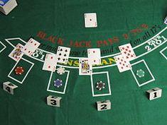 Blackjack game || Image Source: https://upload.wikimedia.org/wikipedia/commons/thumb/a/a2/Blackjack_game_1.JPG/250px-Blackjack_game_1.JPG