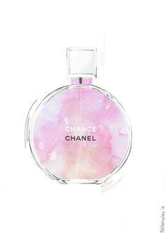 Chanel Chance pink orange perfume illustration by RKHercules | Watercolor Art, Fashion Art, Wall Art, Art Print, home decor