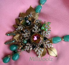 Milli Centerpiece Necklace Set in Green with by MaisonMilli, $395.00