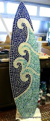 Lucy Designs: Stained glass mosaic surfboard waves and whitecaps pattern
