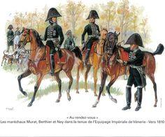 FRENCH MARSHALS MURAT, BERTHIER AND NEY