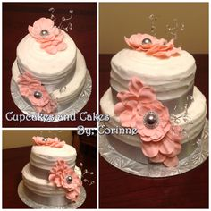 grey and pink cascading flowers strawberry and butter cream cake.