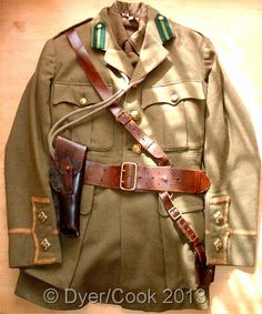 WW1 BRITISH ESSEX REGIMENT LEFTENANTS UNIFORM. With sam brown belt, holster and pistol lanyard.