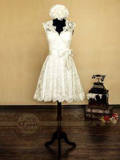 Lace Short Wedding Dress, Knee Length Wedding Gown , Wedding Dress Cap Sleeves Keyhole Back on Etsy, $199.99