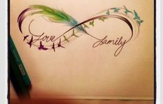 Love this simply but beautiful tattoo. Feather, infinity circle. Family by elsa