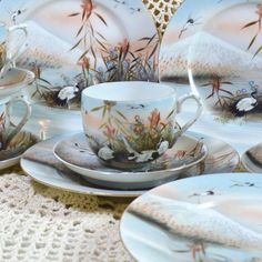 Wicksteads Tea Parties Everything for The Quintessential Afternoon Tea ___  A Hand Painted Pattern of Cranes in a Floral and Reeded Landscape with