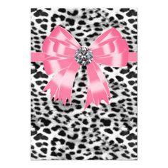 Pink Black Pink Leopard Party RSVP Template Personalized Announcements