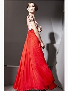 2015 Prom Dresses Red Floor-Length Column Beads Backless Chiffon Evening Gowns