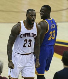 LeBron James and Draymond Green getting chippy during the finals in Cleveland.