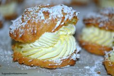 Recipe Cream puffs with lemon vanilla cream filling. by monicaih, learn to make this recipe easily in your kitchen machine and discover other Thermomix recipes in Baking - sweet. Köstliche Desserts, Delicious Desserts, Dessert Recipes, Yummy Food, Vegetarian Desserts, Quick Dessert, French Desserts, Cream Puff Recipe, Cream Puff Filling