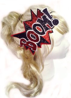 Harley Quinn Inspired Cosplay Headband - BOOM - Black and Red Glitter - Comic Book