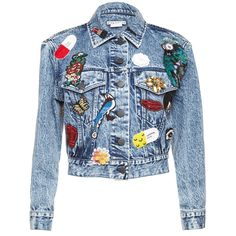CHLOE EMBELLISHED CROPPED DENIM JACKET ❤ liked on Polyvore featuring outerwear, jackets, denim jacket, embellished jackets, jean jacket, blue jackets and cropped denim jacket