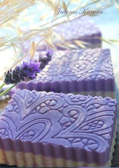 Lavender soap with imprint pattern, cut with a ripple french fry cutter...