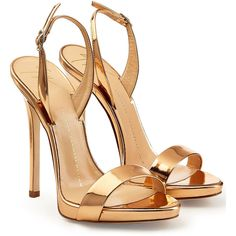 Giuseppe Zanotti Metallic Patent Leather Sandals (£265) ❤ liked on Polyvore featuring shoes, sandals, heels, gold, buckle sandals, metallic platform sandals, high heels stilettos, strap sandals and platform heel sandals