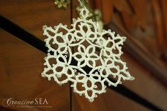 Tatted snowflake My Works, Snowflakes, Tatting, Creative, Lace Making, Needle Tatting