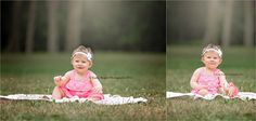 Milestone, 1, year old, one, birthday, little girl, toddler, photos, pictures, pink, dress, white, headband, grass, outdoors, woods, trees