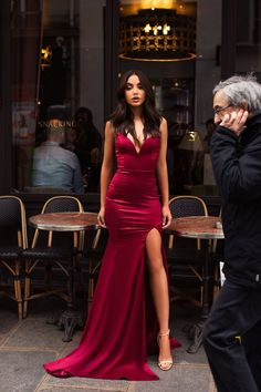 Sexy Burgundy Prom Dresses V-Neck Long Evening Dress Elastic silk-like stain 2019 Formal Gowns · LovePromDresses · Online Store Powered by Storenvy Formal Evening Dresses, Formal Gowns, Elegant Dresses, Evening Gowns, Formal Prom, Formal Wear, Beautiful Dresses, Satin Gown, Satin Dresses