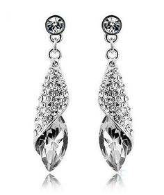 White Colorless Tear Drop Silver Plated Tear Drop