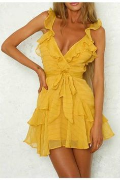 Lily Rosie Girl Solid Ruffles Yellow Dress Women Dress Green Sexy Chiffon Casual Dress Bohemian Beach Party Dress Vestidos - Designer Accessories Online - largest collection of fashionable designer clothing and accessories Beach Dresses, Sexy Dresses, Casual Dresses, Summer Dresses, Elegant Dresses, Pretty Dresses, Formal Dresses, Prom Dresses, Wedding Dresses