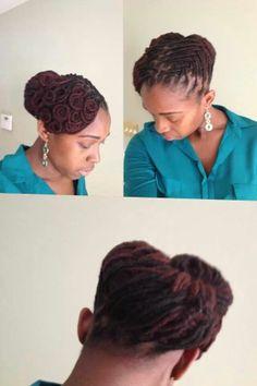 An elegeant loc style ♥Locs N Dreads♥ Dreadlock Styles, Dreads Styles, Updo Styles, Dreadlock Hairstyles, Girl Hairstyles, Wedding Hairstyles, Loc Updo, Dreadlocks Updo, Afro