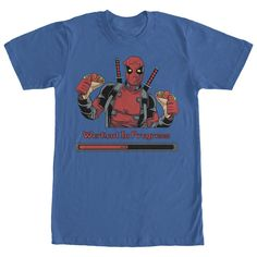 We all know Deadpool has his own way of doing things and his workouts are no different on the Marvel Deadpool Workout in Progress Royal Blue T-Shirt. Deadpool is featured holding two tacos with Workout in Progress in red beneath him. Cool T Shirts, Funny Shirts, Tee Shirts, Tees, Shirt Hoodies, Hoodie Allen, Deadpool T Shirt, Deadpool Cosplay, Deadpool Movie