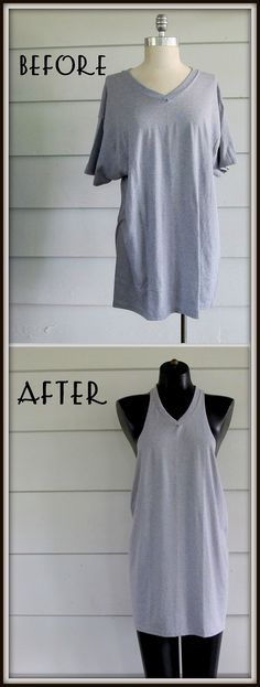 So.... summer is here and you need some tank tops to survive the heat?   Why not make some out of a tee shirt you already have.   Super...