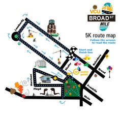 VCU Broad St Mile.  5K route map #runwithpurpose