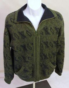 Handmade Peruvian Alpaca Sweater Zippered Cardigan by Love is Farm Green Large #HandmadeLoveisFarmAlpacaFiberFashion #Cardigan