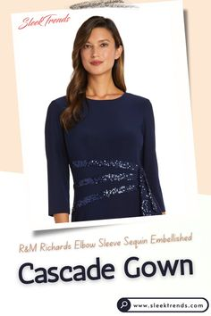 Here is another stunning Elbow sleeve evening Gown from RM Richards An elegant sequin embellished cascade accentuates the waistline of this glamorous gown from R&M Richards, dazzling with sequins and side ruffles. Mother of the Bride Gown, Missy & Petite, Women social dresses, Three Quarter Sleeve, Cascade gown, Mother of bride outfits, Party Dress, Sequin lace dress with, Casual dresses, Elbow sleeves, Mother of bride dress, #socialdress #motherofbride #womenpartydress #lacedress #cascadegown