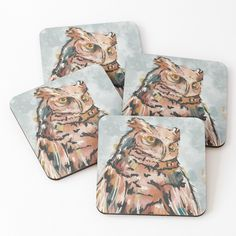 Beautiful Owl, Watercolor And Ink, Top Artists, Coaster Set, Vibrant, My Arts, Art Prints, Drink, Printed