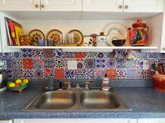 GypsyYaya-Removable Turkish Tile Decal Backsplash by Bleucoin on Etsy